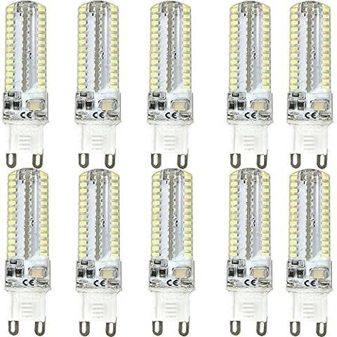 KINGSO - Repuesto para bombilla halógena (10 unidades, G9, 7 W, LED, luz blanca fría, no regulable, 60 W para bombilla halógena, gel de sílice, 104 SMD, 3014, 6000 K, 520 lm, ahorro de energía, CA 220-240 V,