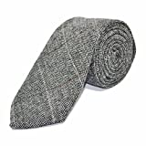 King & Priory Luxuriöse Zinngraue Krawatte mit Fischgrätenmuster
