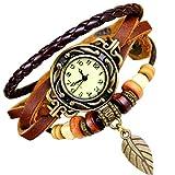 Mixe Damen-Armbanduhr Elegant Bronze-Blatt Boho Chic Vintage Armreif braun