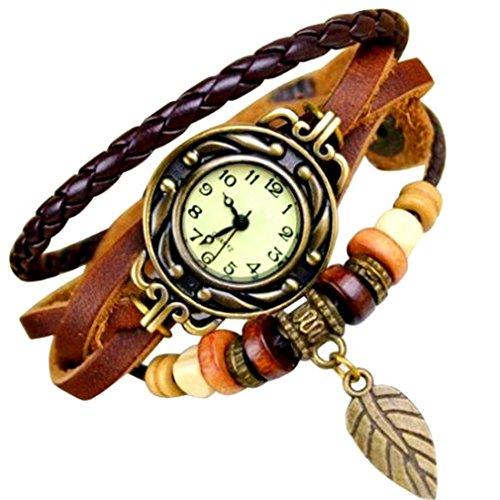 Mixe, orologio bracciale elegante da donna, con foglia in bronzo, stile boho chic di ispirazione vintage marrone