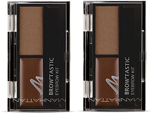 Brown Brow Powder (Manhattan Brow'Tastic Eyebrow Kit, Augenbrauen Wachs & Augenbrauenpuder im Eyebrow Set zum Fixieren & Färben, Farbe Brow-Nie 002 (2 x 3g))