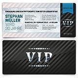 Einladungskarten zum Geburtstag (30 Stück) VIP Karte Ticket Einladung mit UV-Lack, edel