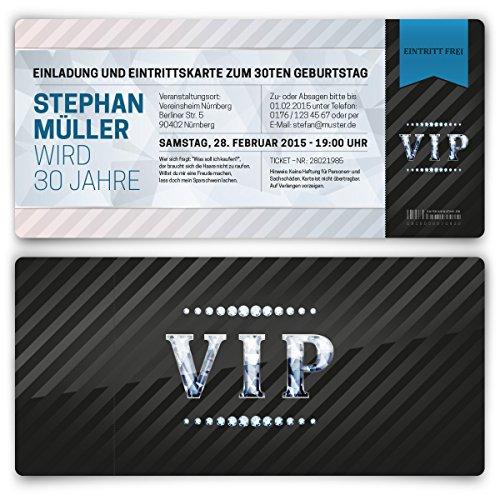Einladungskarten zum Geburtstag (50 Stück) VIP Karte Ticket Einladung mit UV-Lack, edel