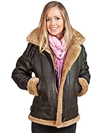 Women's Brown Hooded Sheepskin Flying Leather Jacket With Cream Fur
