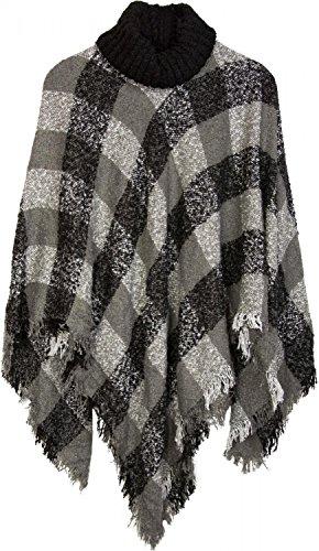 styleBREAKER Strick Poncho mit Karo Tweed Muster und Rollkragen, Fransen, Damen 08010036, Farbe:Schwarz-Grau-Weiß - Rollkragen-poncho
