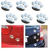 BONFINITY Adesivi Zampe Cane Gatto 3D per Auto Esterni | 6 Stickers Impronte per Macchina colore Argento Decalcomanie 6cm x 7cm