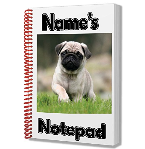 MOPS HUND Personalisiertes Geschenk-A5Notizblock/Notebook-Name Gedruckt Auf den Bezug -