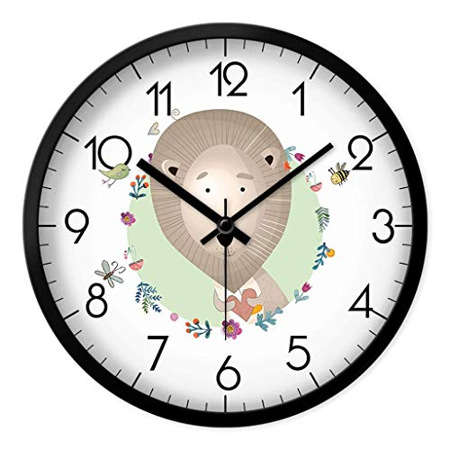 Cxmm Kreative Cartoon Tier Lion Nette Uhr Stille Kinderzimmer Wohnzimmer Schule Dekoration Wanduhr (Farbe: Schwarz, Größe: 30X30 cm)