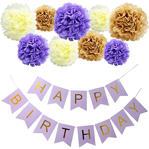 y Girlande Set,Alles Gute zum Geburtstag Party Banner und Set von 9 Tissue Papier Pom Poms Blumen für Geburtstagsfeier Dekorationen Lila Banner Gold Brief (Gold Und Lila Dekorationen)