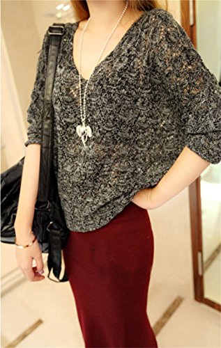 Honghu Loose Manches Longues Collier V Garder au Chaud Pull Femme Casual Pullover Sweater Noir