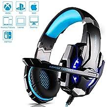 Auriculares Cascos Gaming de USB Mac Estéreo con Micrófono Gaming Headset G9000 con 3.5mm Jack Luz LED Bajo Ruido Compatible con Gamer PC /Nintendo Switch/ PS4/Xbox One/Móvil