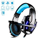 Gaming Headset Kopfhörer mit Mikrofon USB/3.5mm On Ear Surround Sound Ohrhörer und Lautstärkeregelung für PS4 Xbox One PC Laptop Tablet Mobile Phones Blau (G9000)