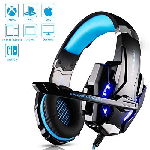 Cuffie da Gioco G9000 (Nuovo Modello) Gaming Luce Led e Microfono e Regolatore Volume Insonorizzato Compatibile con PC, Smartphone, PS4, Xbox Attacco USB con Adattatore PS4 3.5mm