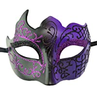 Coolwife Masquerade Mask Vintage Venetian Greek Roman Party Mardi Gras Mask (A Black Purple)