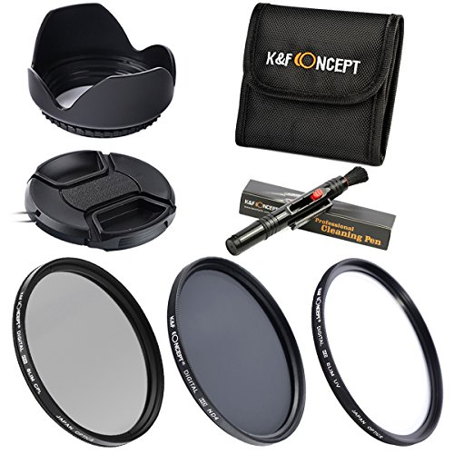 K&F Concept 62mm Filtri Filter Kit 3pcs Slim Lens Filter Kit(UV+CPL+ND4) + Lens Cleaning Pen + Flower Petal Lens Hood + Center Pinch Lens Cap + Filter