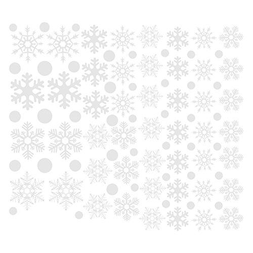 48 Stücke Schneeflocken Fensterbilder, BESTOMZ Weihnachten statisch haftende PVC-Sticker (Weiß)