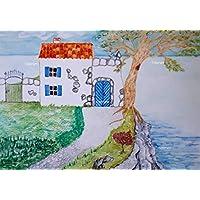 Zeichnung Haus am Meer 29,5 x 21 Aquarell Kunst handgemalt Landschaft Küste Baum Felsen Geschenk