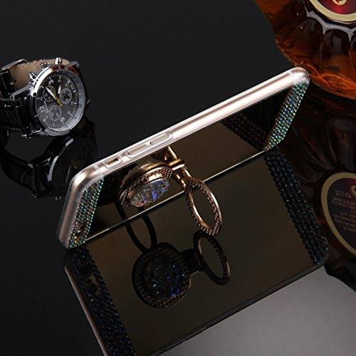Phone case & Hülle Für iPhone 6 / 6s, Diamond verkrustete Galvanik Spiegel Schutzhülle Fall mit versteckten Ring Halter ( Color : Gold ) Gold