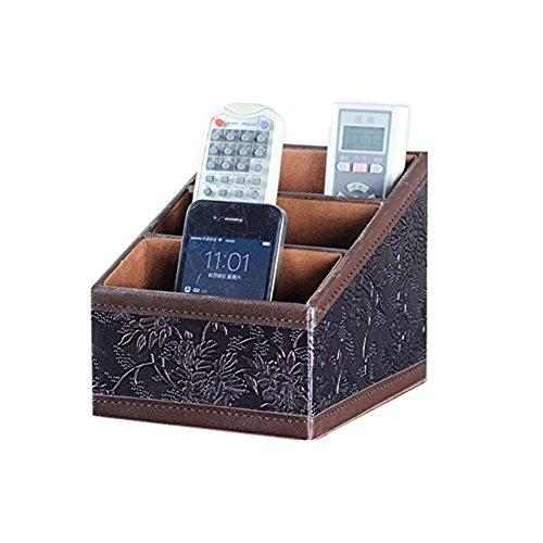 Hensych PU-Leder mit 3 Einschüben Schreibtisch Fernbedienung für Home Aufbewahrungsbox Kleinteilemagazin-Mail Guide/CD-Organizer/Caddy/Halterung mit kostenlosen Kabel-Organizer -