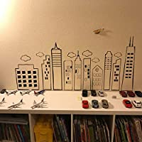 Stadt Skyline Kreative Dekorative Vinyl Kunst Wandaufkleber für Kinderzimmer Spielzimmer Kindergarten 42 * 90 cm