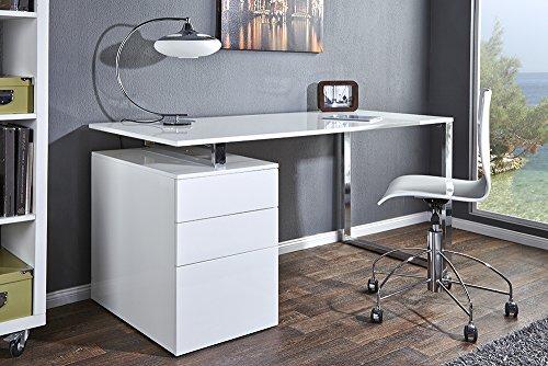 Design Schreibtisch COMPACT hochglanz weiss Bürotisch 160cm Tisch Büro Chrom Arbeitszimmer