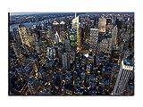 Alu-Dibond Bild Manhattan Wolkenkratzer Skyline New York ALB00709 Butlerfinish® 150 x 100 cm, Wandbild Edel gebürstete Aluminium-Verbundplatte, Metall effekt Eyecatcher!