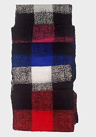 Mens C.I.5 Scarf Tassle Ends Lightweight Knit Scarves Check Winter Warm Muffler (Red)