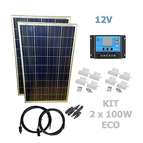 Kit 200W ECO 12V panneau solaire 2X100W