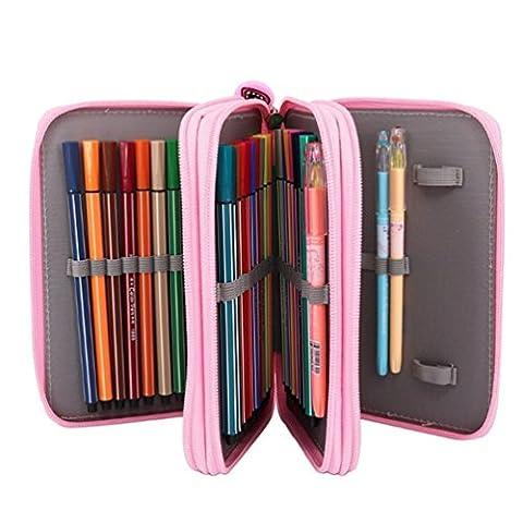 SAMGOO 52 Slots Multi Layer Bleistiftbeutel Bleistift Buntstift Tasche Federmäppchen pencil case für Schule Kunst Malerei Design Schöpfung (Rosa)