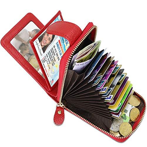 Leder kreditkartenetui RFID Schutz Kartenhalter Geldbörse mit 14 Fächer & 4 Fotofächer, Portemonnaie klein Reißverschluss kreditkartenmäppchen Leder Karten Geldbörse für Damen und Herren (Rot)