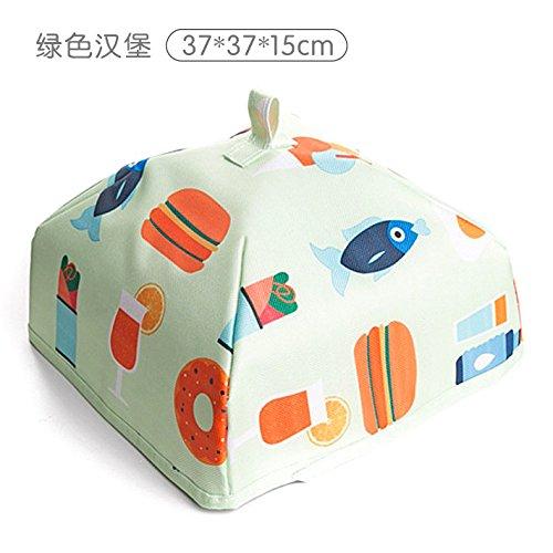 WEIAIXX Hausdämmung Decken Klappbaren Deckel Für Lebensmittel Folienabdeckung Essen Essen Isolierung Tisch Essen Staub Deckung Große Grüne Burger