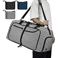 NEWHEY Bolsa de Viaje 65L Plegable Ligera Bolsa Deporte Hombre Impermeable Bolsa Fin de Semana con Compartimento Zapatos para Mujeres Gris