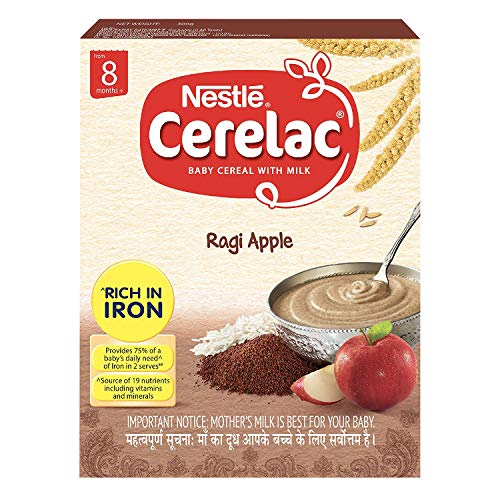 Nestlé CERELAC Fortified Baby Cereal with Milk, Ragi Apple - From 8 Months, 300g BIB Pack