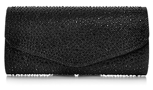 VINCENT PEREZ, Clutch, Abendtaschen, Umhängetaschen, Unterarmtaschen, Strassstein-Dekoration, 23x12x6 cm (B x H x T), Farbe:Schwarz