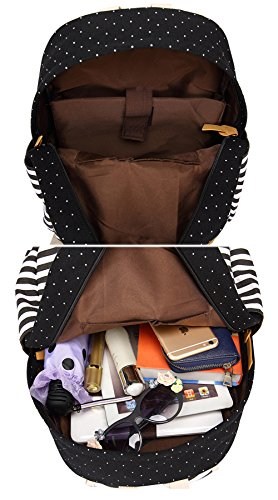 Artone Wasserabweisend Grösse Kapazität Daypacks Schulranzen Rucksack Mit Laptop-Fach Passen 14 Notizbuch Grün Schwarz Streifen Crossbody-Tasche Mäppchen Set von 3