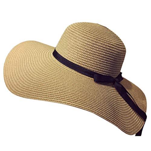 beIilan Bowknot de Las Mujeres Grandes de Paja del Borde de Protecciš®n UV bš®veda del Sombrero Plegable de la Playa de Cap Sunbonnet Verano de Las se?Oras de Vacaciones de Color Caqui