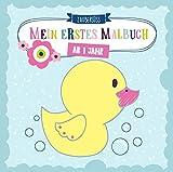 Mein erstes Malbuch ab 1 Jahr: Ausmalen und kritzeln der ersten Wörter für Mädchen und Jungen mit Tieren, Fahrzeugen sowie Sonne, Mond und Sternen