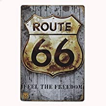 Boweike Tin Sign Vintage Metal Plaque Cartel De Chapa La Placa De Metal Decoración De La Pared 20*30 CM Feel The Freedom Route 66