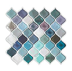 FAM STICKTILES Peel and Stick Tiles Backsplash for Kitchen/Bath, Self Adhesive Teal Arabesque Tile Backsplash, Tile Stickers 11'' x 10''(5 Sheets)