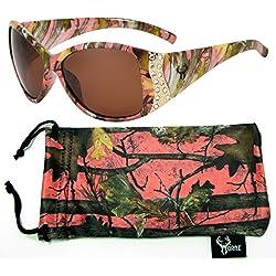 Hornz camuflaje del rosa gafas de sol polarizadas para las mujeres del Rhinestone acentos y que coinciden con bolsa de microfibra – Marco rosado de Camo - ámbar lente
