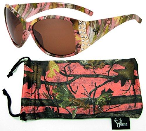 Hornz Rosa Camouflage polarisierten Sonnenbrillen für Damen Strass Akzente & freie passende Beutel aus Mikrofaser - Rosa Camo Rahmen - Bernstein Objektiv