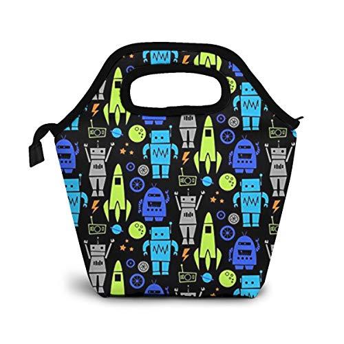 TUYUFBAGS Raketen-Roboter Mittagessen Tasche,Lunch Bag Wiederverwendbare Picknick Tasche Thermisch Kühler Multifunktion Lebensmittel Behalter mit