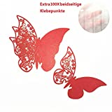 ElecMotive 100 Pezzi Rosso Farfalle 3D Segnaposto Segnatavolo Adesiv da Parete Decorazioni