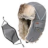 SIGGI Kunstfell-Bomber-Hut für Herren, Baumwolle, warm, Ushanka, russischer Jagdhut Gr. Einheitsgröße, 89135_Grey