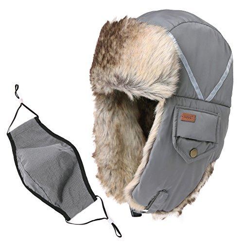Reflective Stripes Hat Faux Fur Trapper Hat Aviator Earflap Hat Winter  Pilot Soviet Russian Ushanka Hat 0adbc93ae4d2