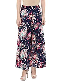The Shopping Fever Womens Navy Blue Printed Crepe Palazzos