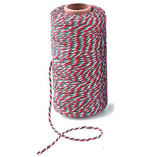 Syolee 100meters di filo spago string durable cotton baker' s twine, heavy duty cotone artigianato spago 2mm per imballaggio spago string decorazioni di natale rosso verde e bianco