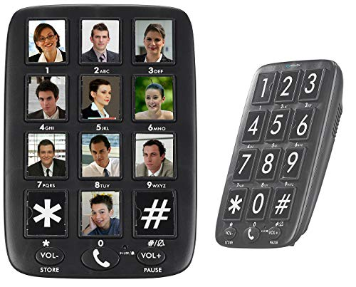 simvalley communications Wandtelefon: Senioren-Festnetz-Telefon mit 12 Foto-Schnellwahl-Tasten, Freisprecher (Festnetztelefon)