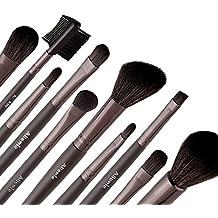Allewie Brocha de Maquillaje Set de 10 Pinceles Mango de Madera 1 Bolso Negro Gratis Pinceles Maquillaje para Sombra de ojos, Labios, Corrector, Polvos y Otros Maquillajes