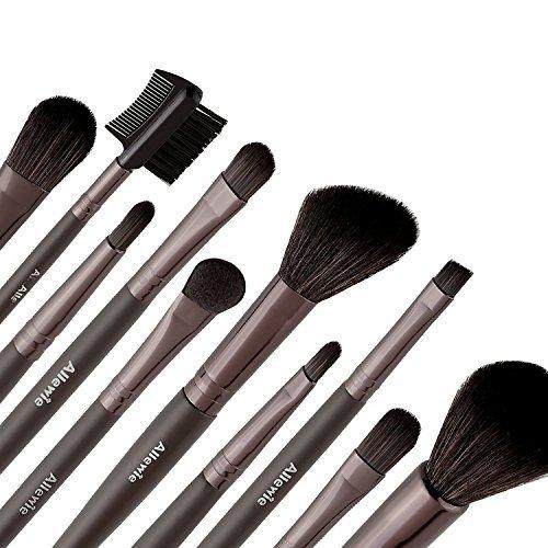 AllewiePinceau Maquillage 10pcs Manche en Bois Poils de Nylon avec uneTrousse pour Ombre à paupières, Lèvres, Correcteur, Poudre et Autres Maquillage